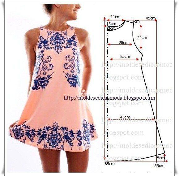 35 modelos y patrones de vestidos para dama17 … | blusas | Pinte…