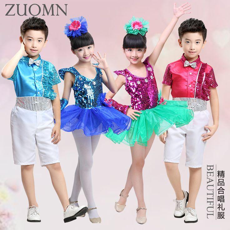 Kids Dance wear Clothes Dancing Outfits Top Pants boys girls Sequin Tutu Dress Jazz Dance Costumes Children Stage Wear YL365
