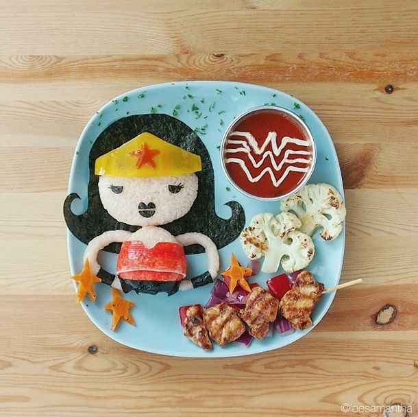 Food art by Samantha lee - wonder woman!