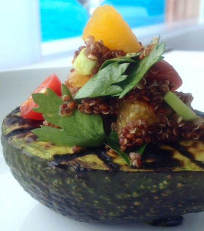 Grilled Avocado with Quinoa Salad Recipe | #beezdex | Pinterest