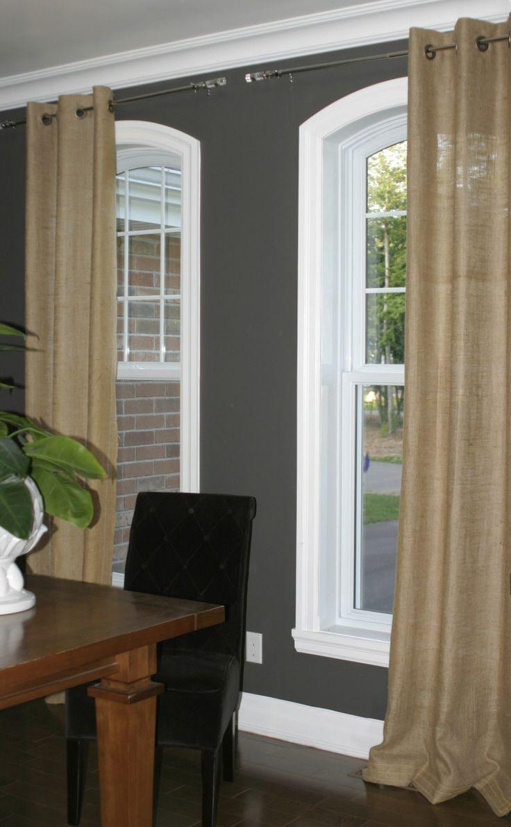 Rustic burlap window treatments - Burlap Curtains Dining Room