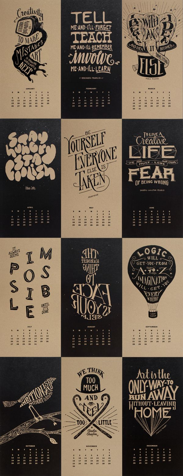 Monthly Inspirational Quotes Calendar 2014 by Jan Ploch, via Behance