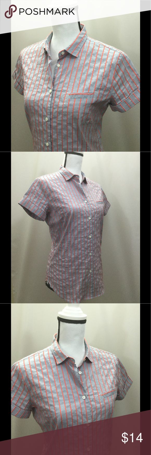 """Faconnable shirt gray orange ripple style fabric Faconnable short sleeve button down top. Size 10. Gray and orange with ripple runched style fabric. 75% cotton, 25% elastomultiester. Laying flat measurements 26-1/2"""" length, 19"""" width pit to pit. Sleeve length 1-1/2"""" from pit. Non-smoking household. Faconnable Tops Button Down Shirts"""