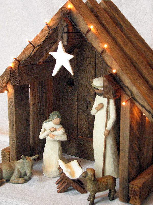 Nativity Creche Stable Reclaimed Barnwood - For Willow Tree