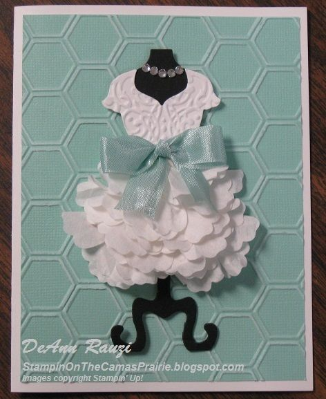 Dress Up with a Coffee Filter Skirt! - Stampin Up card using Dress Up framelits