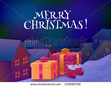 Merry christmas card. Xmas gifts on the roof. Fairy city at christmas night background. Vector illustration