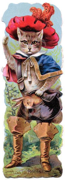 Embossed Victorian Scrap (die-cut) Depicting Puss In Boots (1880s)