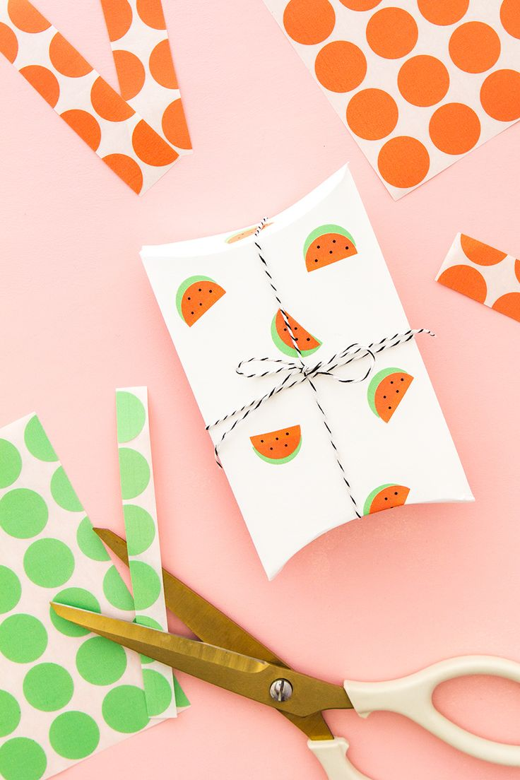 Use regular office color coding labels to make adorable watermelon stickers! They are perfect for making summer party favors, cards, and more!