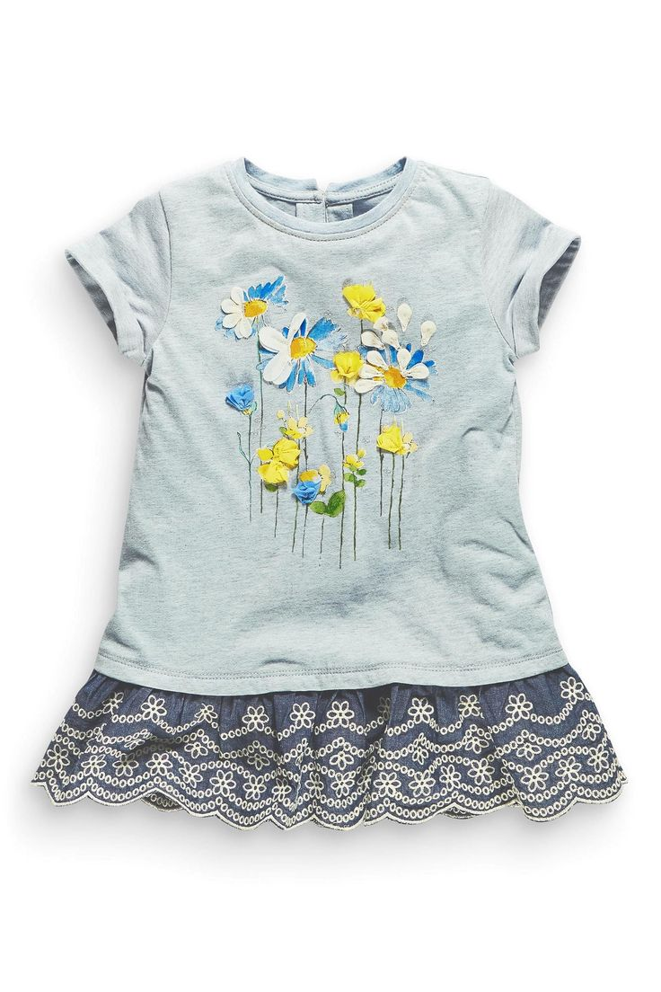 Buy Blue Marl Floral Broderie Hem Tunic (3mths-6yrs) from the Next UK online shop