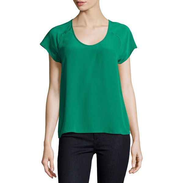 Joie Bellona Silk Short-Sleeve Top ($125) ❤ liked on Polyvore featuring tops, green, short sleeve silk top, short sleeve tops, scoop neck top, scoopneck top and green top