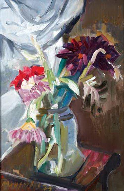 .:. Μαυροϊδής Γιώργος – Giorgos Mavroidis [1912-2003] Λουλούδια στο βάζο, 1979