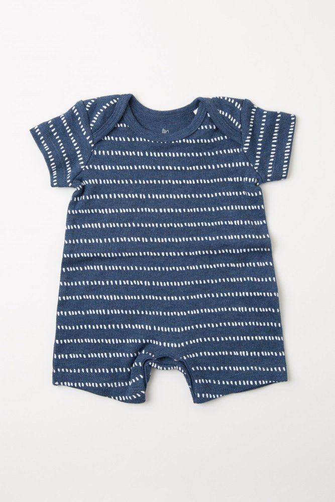 ed53e7defed0 Navy Blue Dot Striped Baby Romper