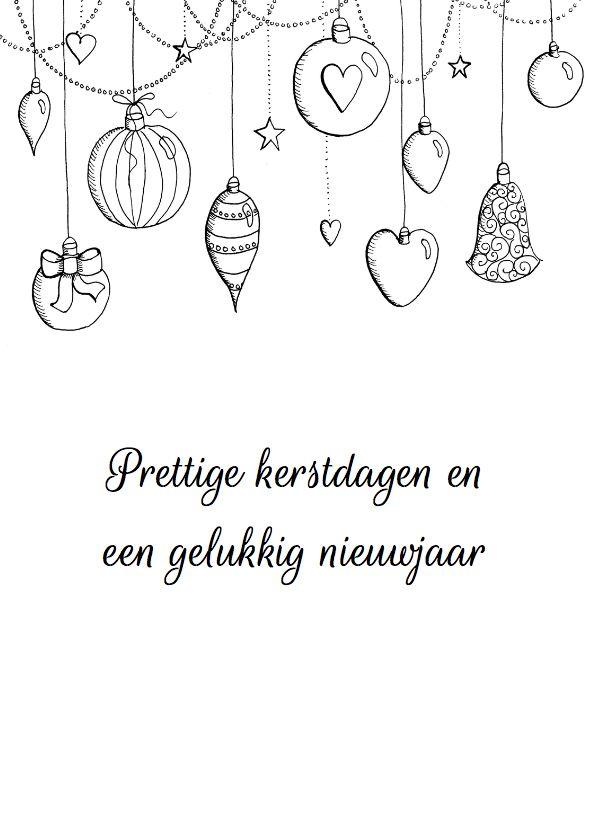 Kerstkaart kerstballen zwart-wit, verkrijgbaar bij #kaartje2go voor € 0,99