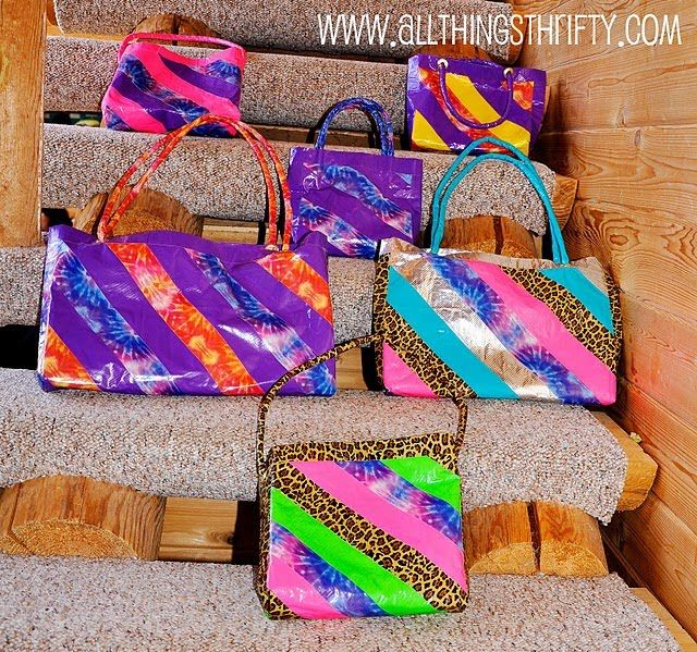 things made out of duct tape   ideas catch my eye! All Things Thrifty made purses out of duct tape ...