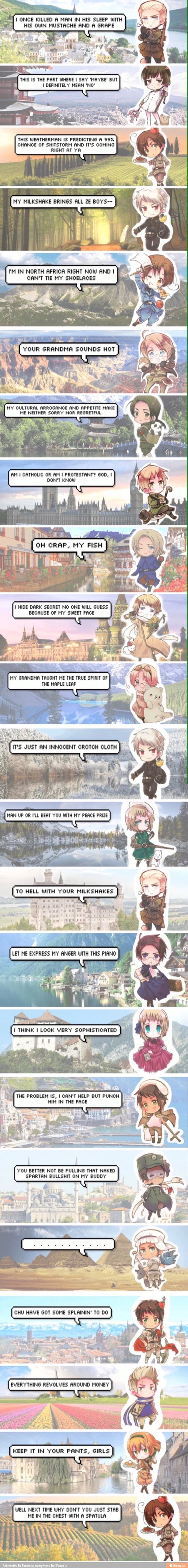 Hetalia characters with various quotes they said in the anime
