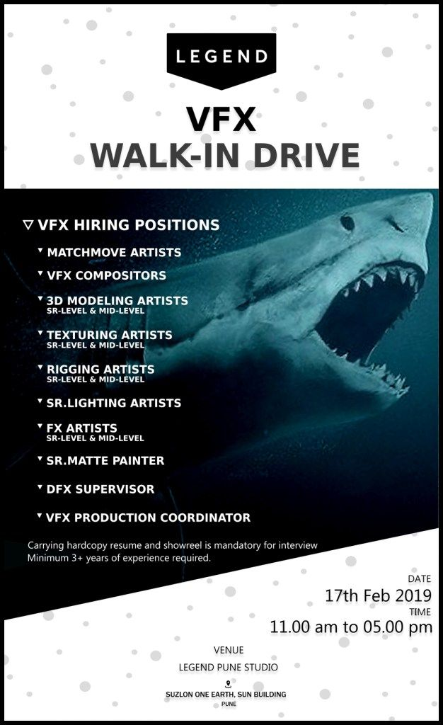3d And Vfx Walk In Interview Mega Recruitment Drive Legend India Pune Legend Recruitment Interview