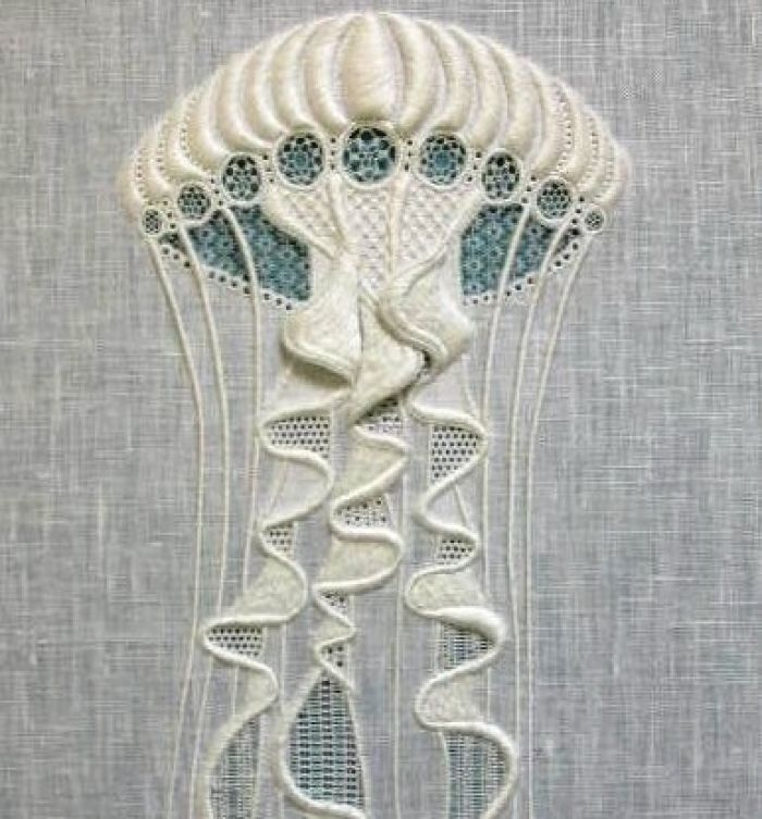 Fine Whitework - Apprentice, Lucy Reed: I'm sorry. This is a jellyfish done in whitework. How awesome is THAT?