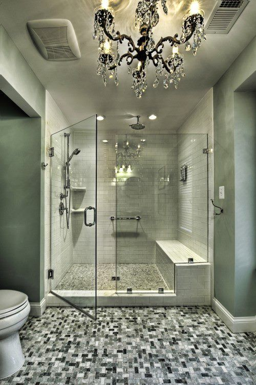 And under that tile - well, different tile - is a heated floor for those cold mornings...: Bathroom Design, Chandelier, Dream House, Beautiful Bathroom, Bathroom Ideas, Shower, Dream Bathroom, Master Bathroom
