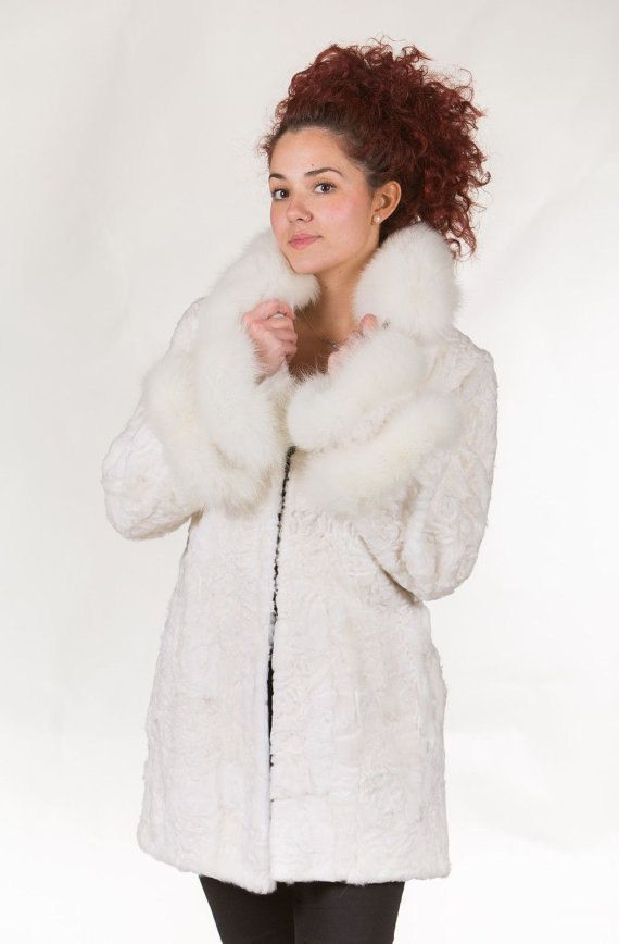 Luxury gift/ Swakara Lamb Fur Coat/ Fur jacket Fox by skffurs
