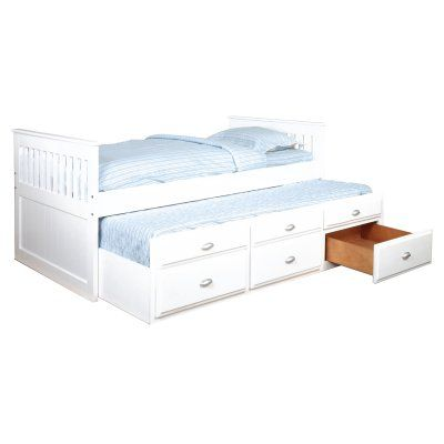 Bernards Twin Captains Bed with Trundle White - 3042V