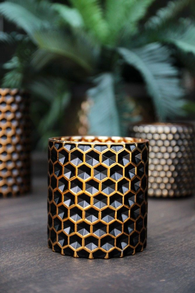 Honeycomb Black & Gold Tea Light Holder - Small - Candles & T Light Holders - Home Accessories