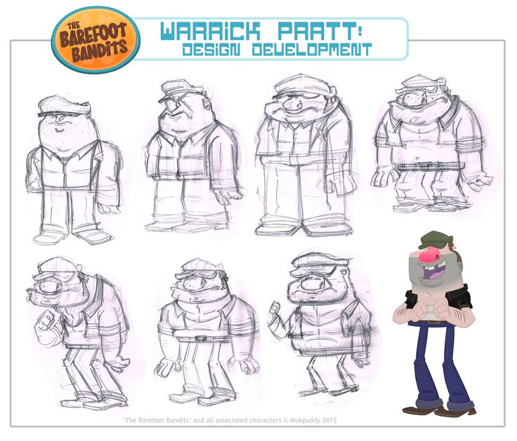 animation::cartoon::illustration::character design::art::design::drawing::sketch::mukpuddy::mukpuddy animation::the barefoot bandits::tvnz::nz on air::tv2::new zealand::animated::model sheet