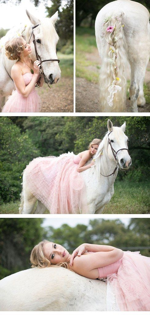 Romantic bliss. Beautiful white horse with flowers in her tail in photo shoot with girl in lovely pink dress.