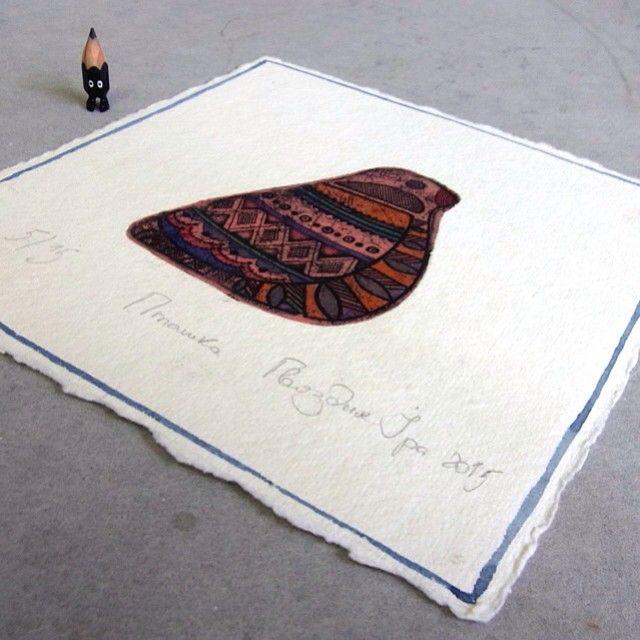 ✏️ So lovely print from @id_yllic  #acrylic #artwork #etching #printmaking #paper #miniature #miniprint #printmaker #intaglio #watercolor #bird