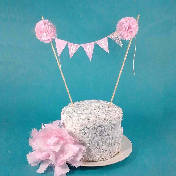 Pink Smash Cake banner First birthday cake by Hartranftdesign