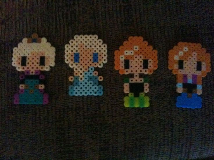 Anna and Elsa from Frozen (perler beads) by Titanslayer000 on deviantART