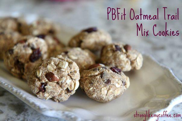 "PBFit Oatmeal Trail Mix Cookies on Stronglikemycoffee.com Perfect ""Back-To-School"" Breakfast Idea :)"