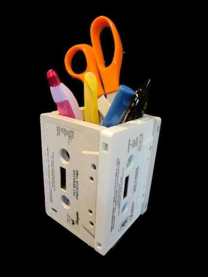 Desk Organizer From Upcycled Cassette Tapes Desk And
