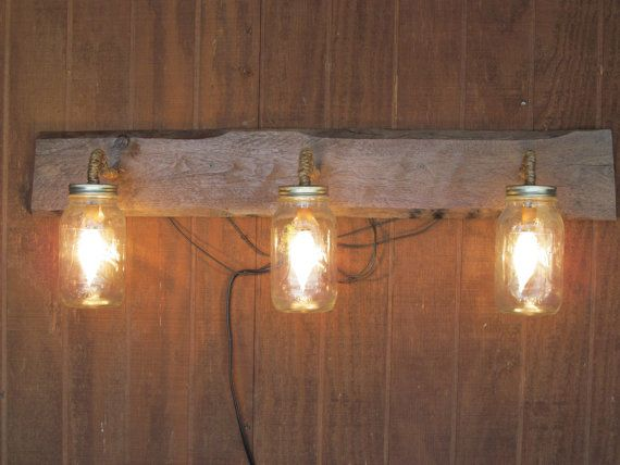 Reclaimed barn wood liberty bell mason jar by for Rustic barn light fixtures