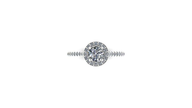 0.70ct Center Stone with Halo Diamonds set in 18K White gold - the Halo enhances the size of the center stone....elegant
