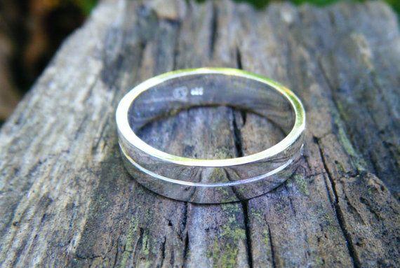 Filed silver ring minimalist unisex gents ring for por ExquisiteGem
