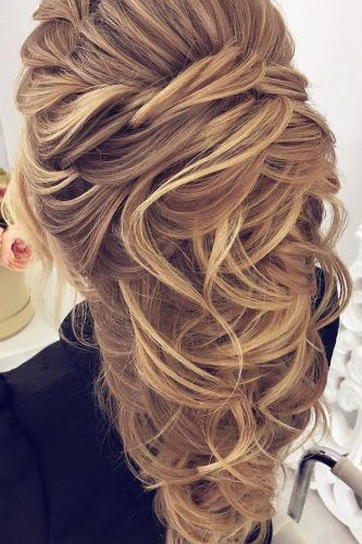 half up half down wedding hairstyles ideas volume blond hair oksana sergeeva stilist
