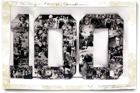 Milestone Birthday Collage, 100th Birthday Present, Birthday Gift, Century Old Birthday, 100 Years Old, Photo Collage, Vintage Photomontage
