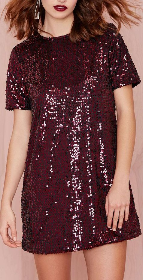 sequin shift dress          I love this Pantone color of the year, Marsala!!!