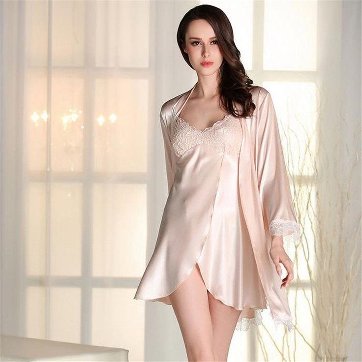 Women Sexy Luxury Silk Suspender Nightgown Set