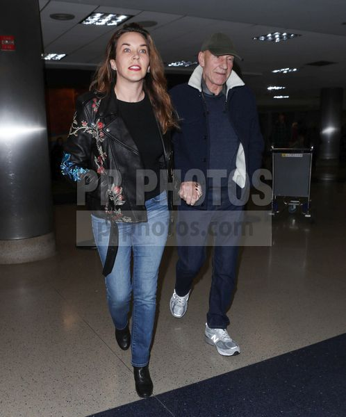 Patrick Stewart and Sunny Ozell Sighted at LAX Airport in Los Angeles on January 9 2018