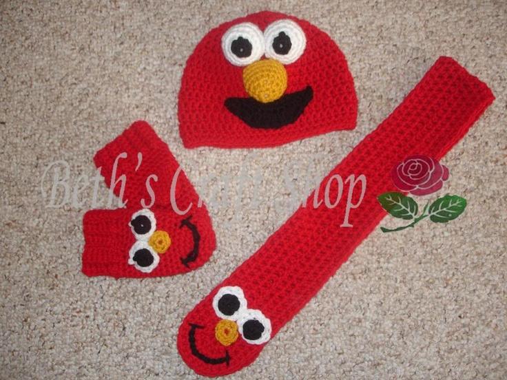 Free Crochet Patterns For Elmo Hat : Elmo Hat, Scarf & Mitten Set Idea (No Pattern) Crochet ...
