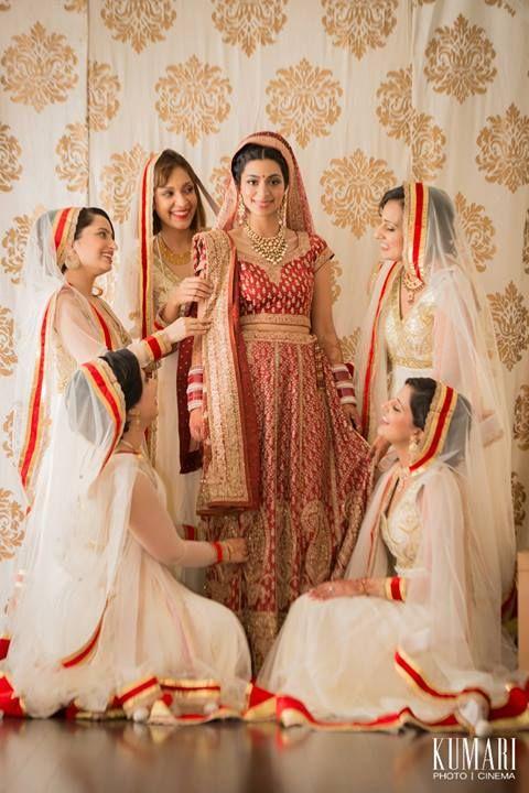 Indian bride wearing traditional bridal lehenga and jewellery