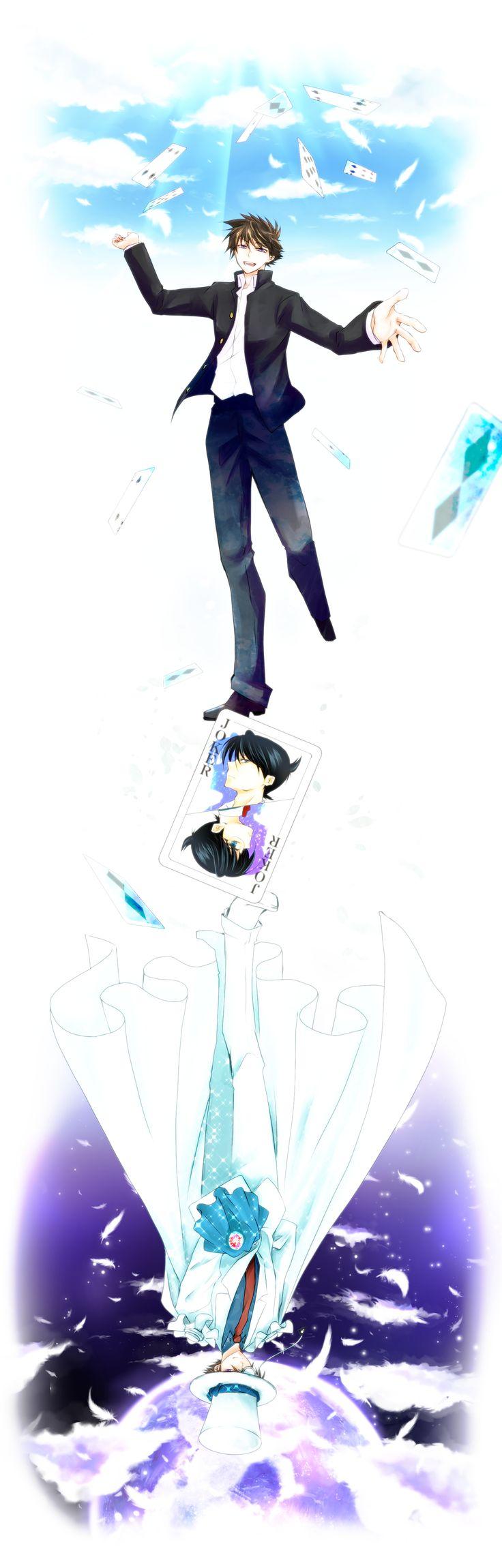 Kaitou Kid and Sinichi Kudo (a.k.a. Conan Edogawa) - Magic Kaito and Detective Conan (Case Closed).