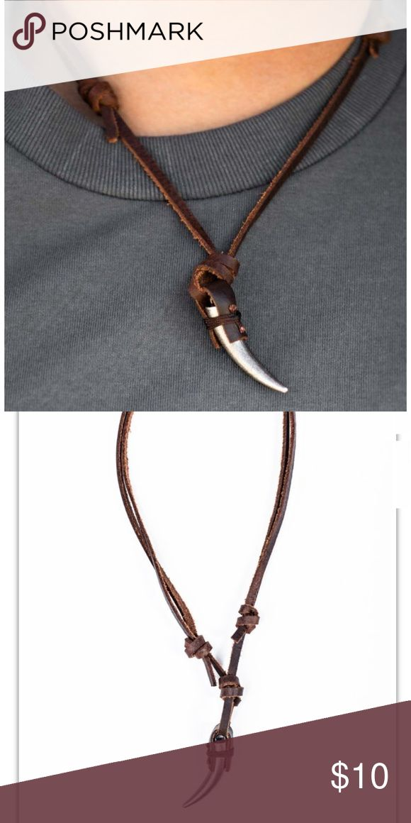 🆕Edgy Male Necklace Brown leather knots around an antiqued silver talon, creating an urban pendant. Features an adjustable sliding knot closure. Accessories Jewelry