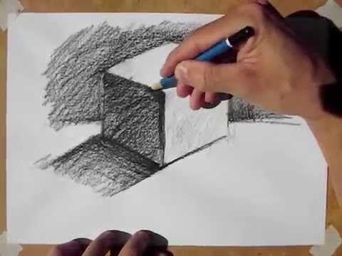 Desenho e Pintura - Desenhando um cubo. #Drawing #cubo #cube #desenho #staedtler #casaartesvisuais
