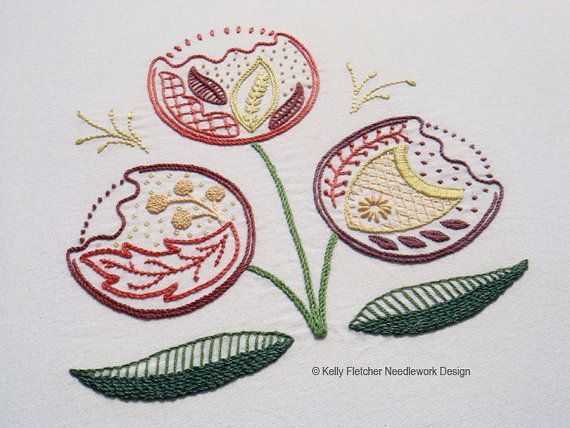 Regality Modern Jacobean crewel hand embroidery pattern - modern embroidery PDF…