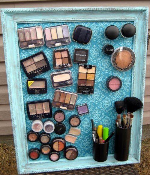 Rangement maquillage tableau magnétique
