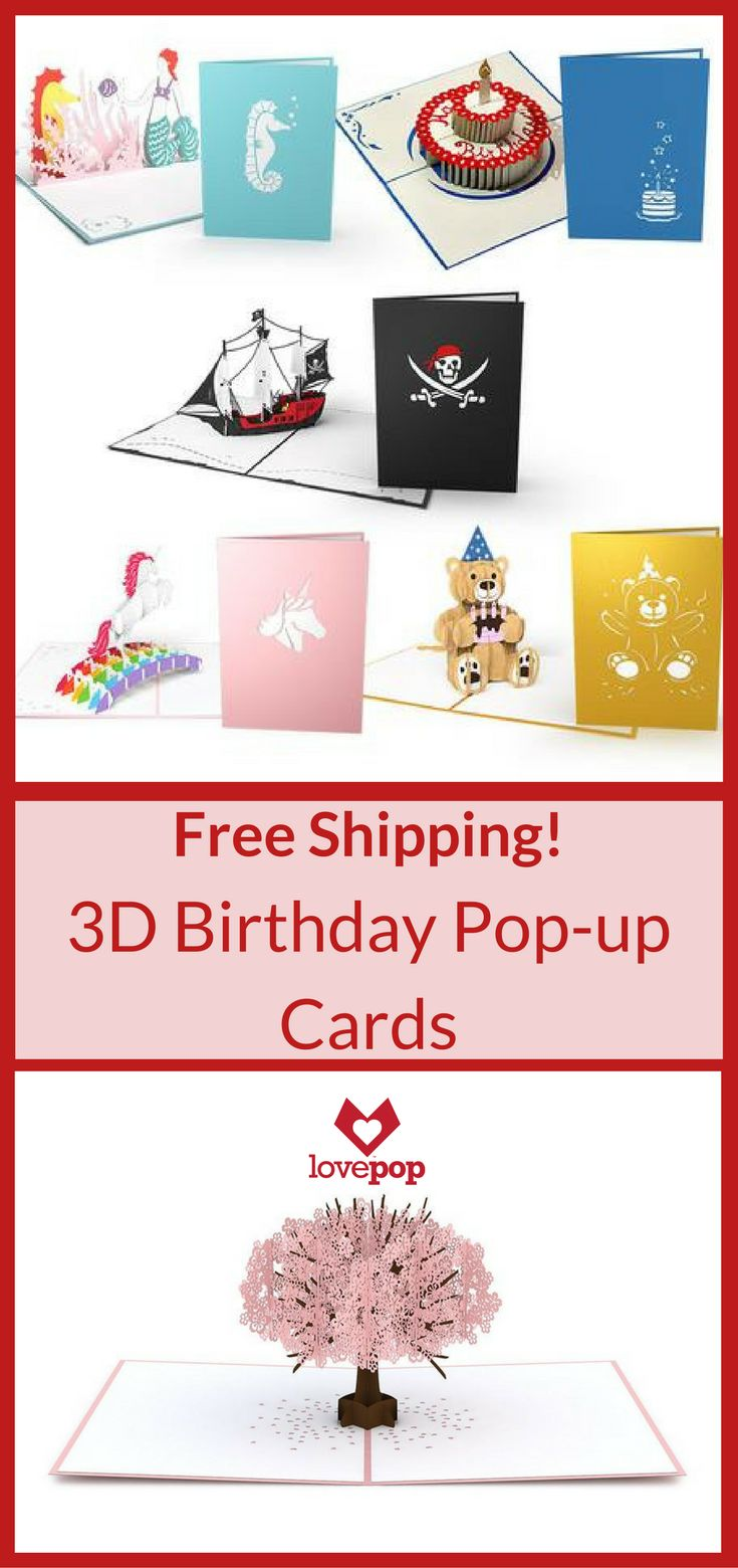 Free shipping on all orders!  A Lovepop 3D pop-up card is the perfect gift for any occasion.  The only gift you send in an envelope.  Shop now!