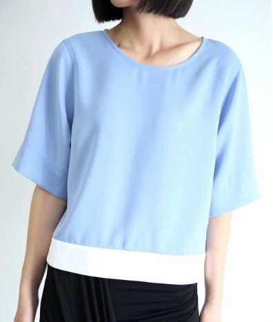 Julietta Blue Two-Tone Top $48.00 http://www.helloparry.com/collections/july-arrivals/products/julietta-blue-two-tone-top