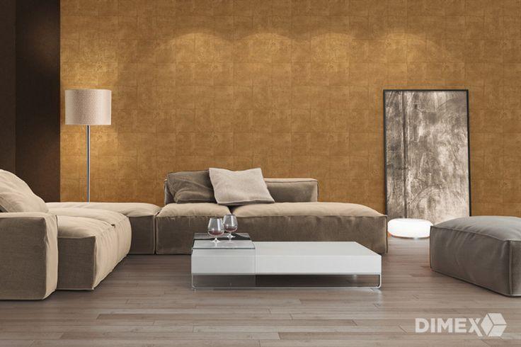 Zlatá tapeta na stenu z katalógu Titanium   DIMEX